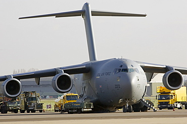 C17 transport plane and ground support at RAF Brize Norton in Oxfordshire, United Kingdom