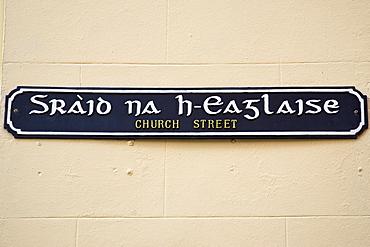 Bilingual road sign  English and Scottish Gaelic street name, Stornoway, Outer Hebrides, UK