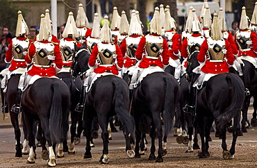 The Household Cavalry, the Life Guards (Lifeguards) mounted cavalry parading in London