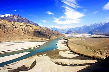 River runs through valleys of Karokoram Mountains, Skardu Valley, North Pakistan