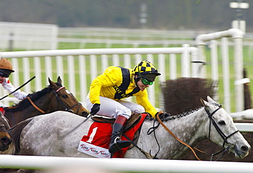 Richard Johnson Riding Rooster Booster In The Tote Gold Trophy Hurdle Race At Newbury Racecourse to Take Second Place