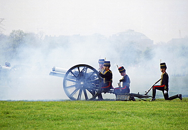 Kings Troop traditional 21 Gun Salute in Hyde Park in London for special occasions