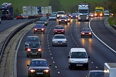 Traffic on M11 Motorway near Harlow, Essex, United Kingdom