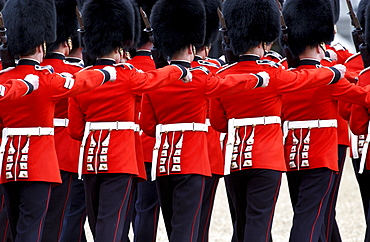 Guardsmen marching at in London, United Kingdom.