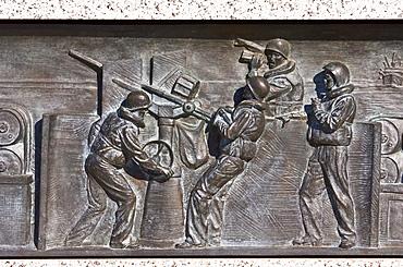 Bronze battleship relief at the National World War II Memorial, Washington DC, United States of America