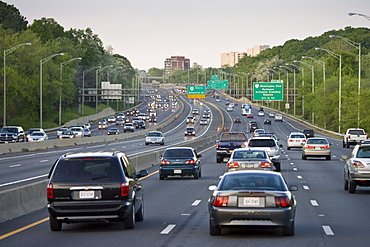 Volume of traffic travelling on freeway lanes, outskirts of Washington DC, USA