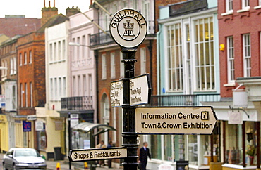 Signposts outside the Guildhall, Windsor's Town Hall, Berkshire, England
