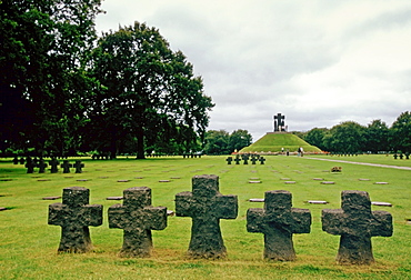 Headstones at a German Military Cemetery where 21,222 Germans are buried at La Combe in Normandy, France