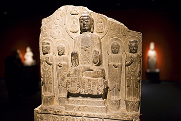 Sakyamuni Buddha stone from the Northern Qi Dynasty on display in the Shanghai Museum, China