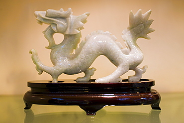 Jade Chinese dragon on display in the Huahui Jade Factory and Showroom, Xian, China