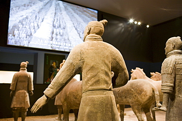 Terracotta warriors on display in the Shaanxi History Museum, Xian, China
