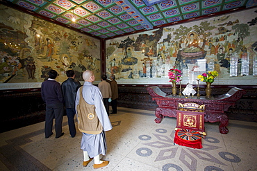 Buddhist monk in Da Cien Temple at Big Wild Goose Pagoda, Xian, China