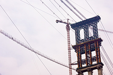 Furong Bridge under construction in Three Gorges area, Yangtze River, China