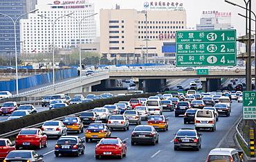 Congested traffic on Beijing motorway, China