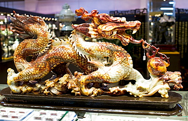 Chinese Jade dragon on display in the Beijing Dragon Land gallery in Beijing, China