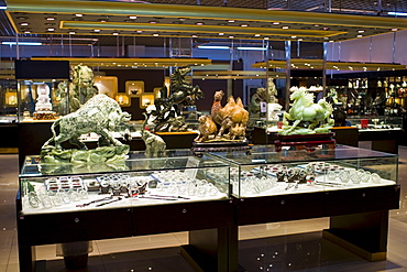 Jade items on display in the Beijing Dragon Land gallery in Beijing, China