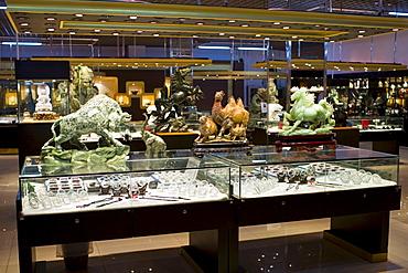 Jade items on display in the Beijing Dragon Land gallery in Beijing, China