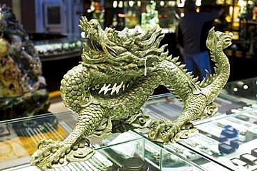 Jade dragon on display in the Beijing Dragon Land gallery in Beijing, China