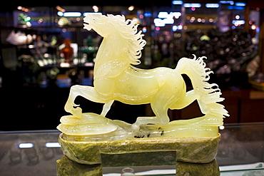 Jade horse on display in the Beijing Dragon Land gallery in Beijing, China