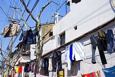 Laundry hanging out to dry in Zi Zhong Road, the old French Concession Quarter of Shanghai, China