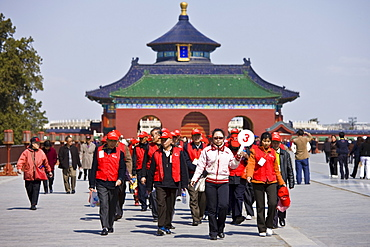 Tourists at the Ming Dynasty Temple of Heaven, Beijing, China