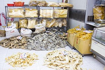 Shark fins on sale in shop in Wing Lok Street, Sheung Wan, Hong Kong, China