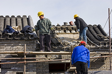 House being renovated in conservation area, Hutongs Area, Beijing, China