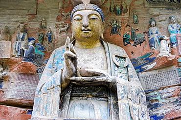 Dazu rock carvings Budhha, Mount Baoding, Chongqing, China