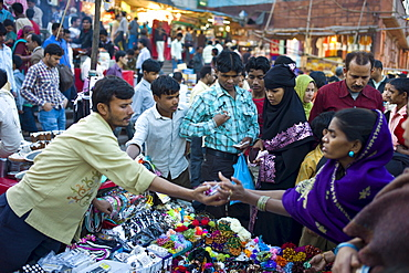 Muslim women shopping at Meena Bazar market in Muslim area of Old Delhi, India