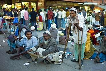 Indian beggars at muslim Meena Bazar, in Old Delhi, India