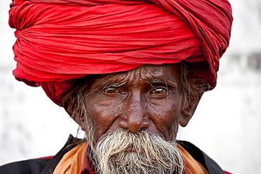 Hindu man pilgrim with long hair in turban at Dashashwamedh Ghat in holy city of Varanasi, Benares, India