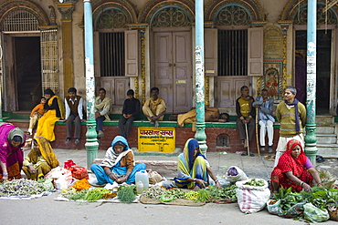 Women selling flowers and herbs for temple offerings by The Golden Temple during Festival of Shivaratri in holy city of Varanasi, India