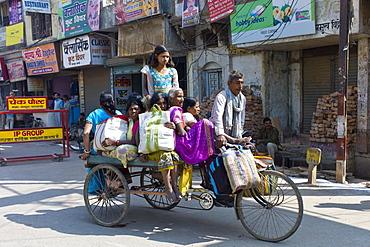 Street scene in city of Varanasi, Benares, Northern India