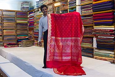 Indian man displays sari fabric at silk factory at Bressler near Varanasi, Benares, Northern India