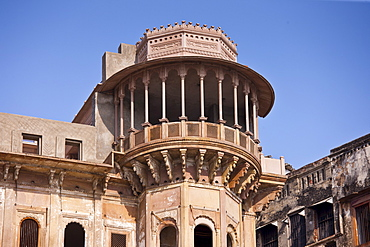 Indian architecture of Dharbanga Ghat by the Ganges River in City of Varanasi, where new luxury Clarks Hotel is being built, India