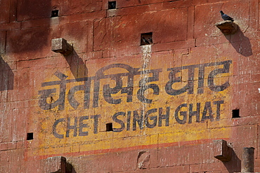 Sign in Indian script and English for Chet Singh Ghat with mynah birds and pigeons roosting in niches in holy city of Varanasi, India