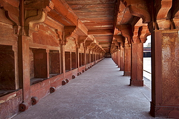 Cloisters of Northern Palace of the Haramsala, Birbal's House, part of harem at Fatehpur Sikri historic city of Mughals, at Agra, India