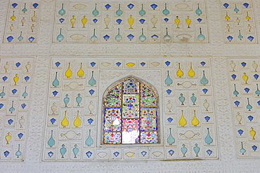 Frescoes in natural pigments at  Sukh Mandir Diwan-I-Khas Pleasure Palace at The Amber Fort in Jaipur, Rajasthan, India