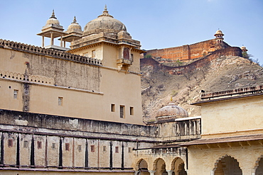 Chattri at The Amber Fort a Rajput fort built 16th Century in Jaipur with 11th Century Jaigarh Fort behind in Rajasthan, Northern India
