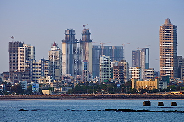 Extensive new development in business district a sign of economic growth, by twin towers in Tardeo South Mumbai, India from Nariman Point