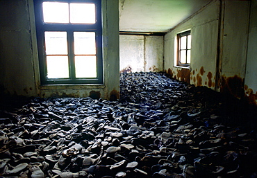 A room full of shoes from victims of the Majdanek Concentration Camp in Poland.