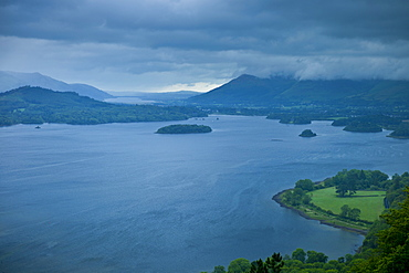 Derwent Water lake from the southside in the Lake District National Park, Cumbria, UK