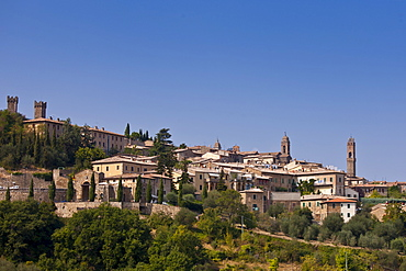 Ancient Tuscan architecture of hill town of Montalcino in Val D'Orcia, Tuscany, Italy