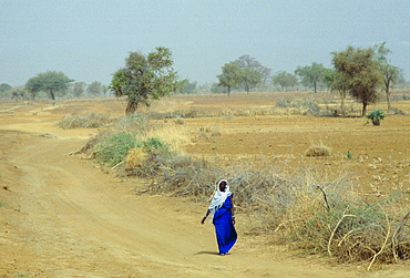A veiled native woman walking alone along a dusty road in Burkina Faso (formerly Upper Volta)