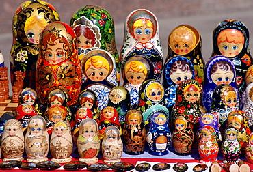 Russian Babushka dolls on display in a market in St Petersburg, Russia