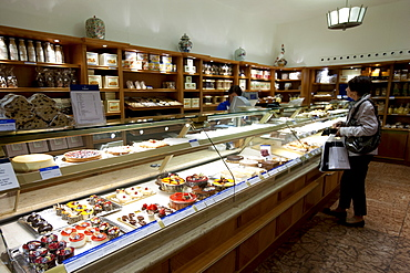 Shop display of artisan pastries and cakes at Dalmayr food shop and delicatessen in Munich, Bavaria, Germany
