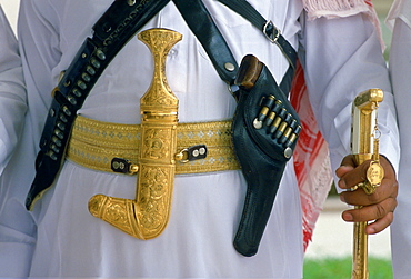 Weaponry for a royal guardsman - Khanjar knife, gun and sword.