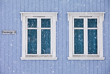 Traditional architecture in Prestenggata in city of Tromso, in the Arctic Circle in Northern Norway