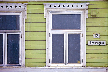 Traditional architecture wooden building along Gronnegata in city of Tromso, in the Arctic Circle in Northern Norway