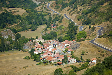 Mountain village in valley Santa Marina de Valdeon in Picos de Europa, Northern Spain